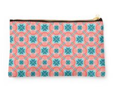 Decorative print with red blue geometric ornament Studio Pouch