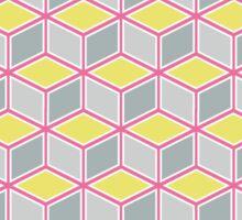 Tumbling Blocks, Pink/Yellow Sticker