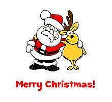Santa Reindeer Merry Christmas Photographic Print
