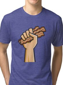 Hand holding Bacon Tri-blend T-Shirt