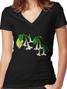 Angel's Trumpet Women's Fitted V-Neck T-Shirt