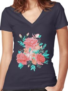 Watercolor floral print Women's Fitted V-Neck T-Shirt
