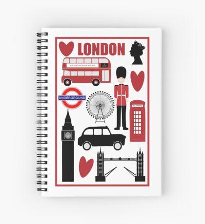 Travel London - Vintage Travel Poster Spiral Notebook