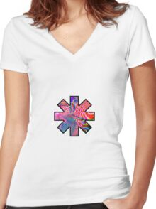 red hot chili peppers Women's Fitted V-Neck T-Shirt