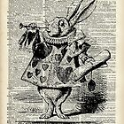 White Rabbit,Alice in Wonderland,Ink Illustration,Dictionary Art by DictionaryArt