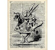 White Rabbit,Alice in Wonderland,Ink Illustration,Dictionary Art Photographic Print