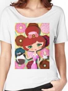 Hot Coffee And Fresh Donuts Women's Relaxed Fit T-Shirt