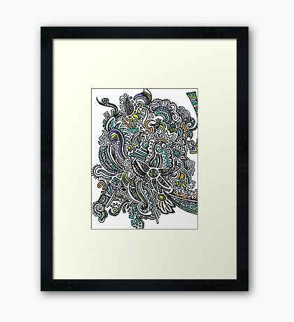 Colorful Rays of Sun Doodle Framed Print