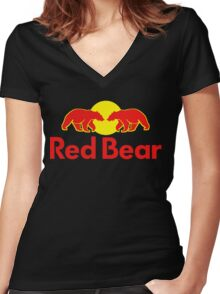 Red Bear Women's Fitted V-Neck T-Shirt