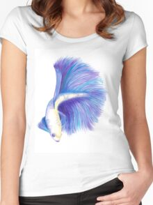 Watercolour Betafish Women's Fitted Scoop T-Shirt