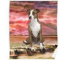 Colorful Pitbull dog Portrait Art Painting Poster