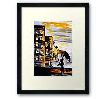 Lady in the street Framed Print