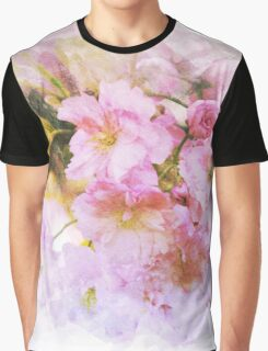 Pink and Yellow-Green Floral Print Graphic T-Shirt