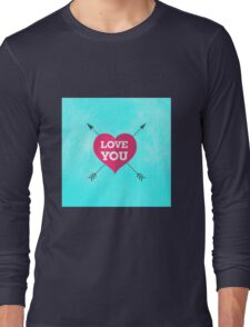 Love You Pink Heart Anniversary Valentine Couple Long Sleeve T-Shirt