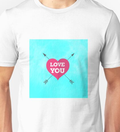 Love You Pink Heart Anniversary Valentine Couple Unisex T-Shirt