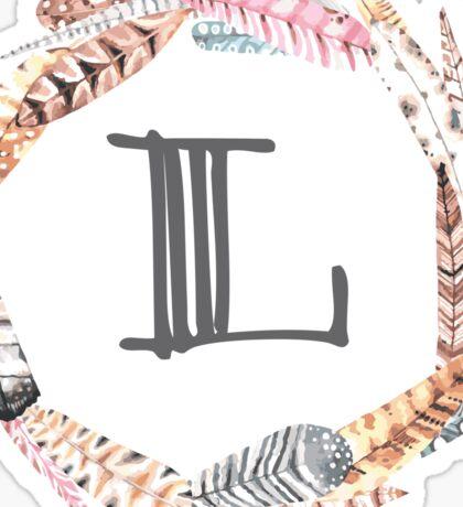 Feather Monogram L Sticker