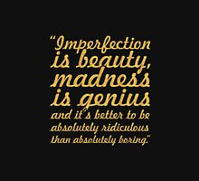 "Imperfection is beauty... ""Marlyn Monroe"" Inspirational Quote Women's Fitted V-Neck T-Shirt"