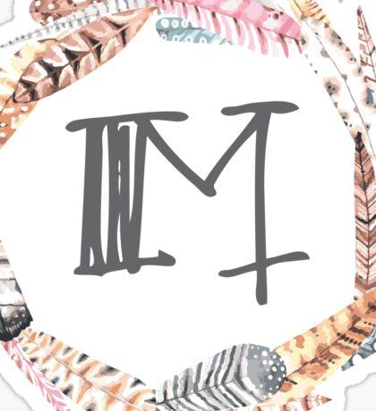 Feather Monogram M Sticker