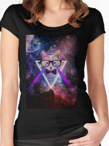 Illuminati space cat warrior Women's Fitted Scoop T-Shirt