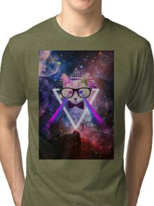 Illuminati space cat warrior Tri-blend T-Shirt