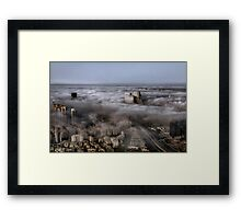 City Skyscrapers Above The Clouds Framed Print