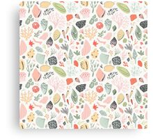 Pattern with shells and corals Canvas Print
