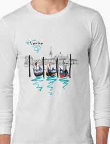 Gondolas in Venice lagoon, Italia Long Sleeve T-Shirt