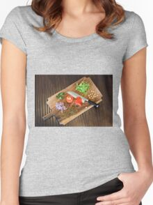 Freshly cut vegetables on a cutting board with a chef's knife  Women's Fitted Scoop T-Shirt