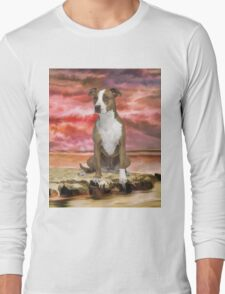 Colorful Pitbull dog Portrait Art Painting Long Sleeve T-Shirt