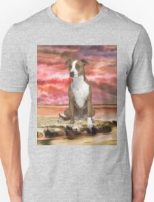Colorful Pitbull dog Portrait Art Painting Unisex T-Shirt