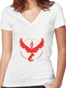 Pokemon Go Team Valor (Red Team) Women's Fitted V-Neck T-Shirt