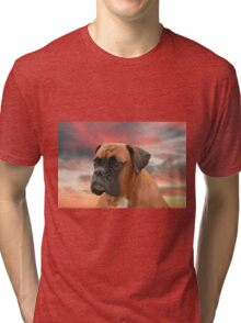 Cute Boxer Dog Water Color Oil Painting Art Tri-blend T-Shirt