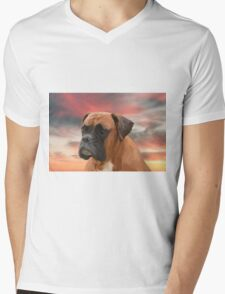 Cute Boxer Dog Water Color Oil Painting Art Mens V-Neck T-Shirt