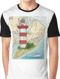 Hilton Head Lighthouse SC Nautical Chart Peek Graphic T-Shirt
