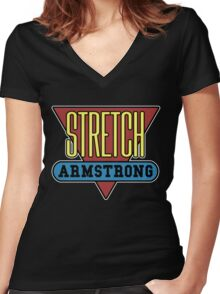 Stretch Armstrong Women's Fitted V-Neck T-Shirt