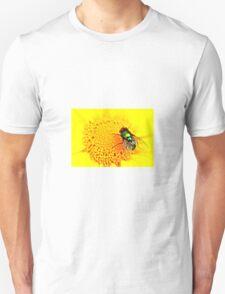 Green Bottle Fly on Yellow Flower Unisex T-Shirt