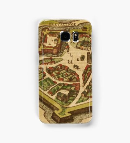 Gravelines Vintage map.Geography France ,city view,building,political,Lithography,historical fashion,geo design,Cartography,Country,Science,history,urban Samsung Galaxy Case/Skin