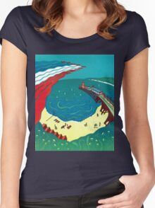 Red Arrows, Bournemouth Beach Women's Fitted Scoop T-Shirt