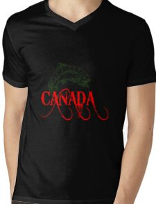 Canada Fish Logo Mens V-Neck T-Shirt