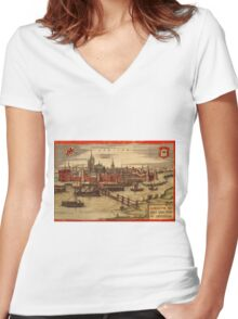 Gorinchem Vintage map.Geography Netherlands ,city view,building,political,Lithography,historical fashion,geo design,Cartography,Country,Science,history,urban Women's Fitted V-Neck T-Shirt