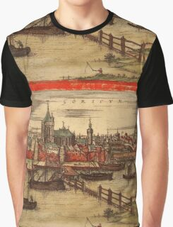 Gorinchem Vintage map.Geography Netherlands ,city view,building,political,Lithography,historical fashion,geo design,Cartography,Country,Science,history,urban Graphic T-Shirt