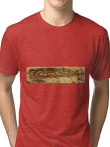 Goa Vintage map.Geography india ,city view,building,political,Lithography,historical fashion,geo design,Cartography,Country,Science,history,urban Tri-blend T-Shirt