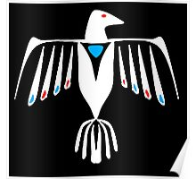 Native American Thunderbird in white Poster