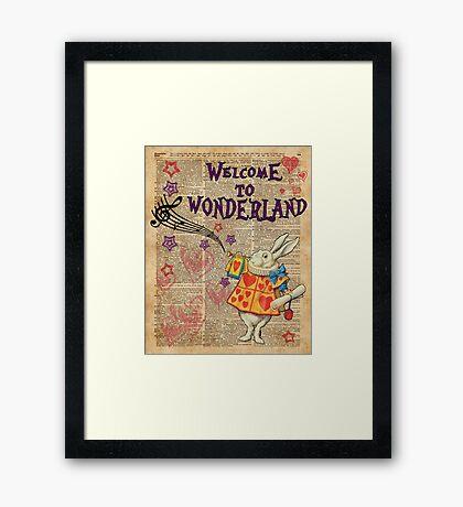 Rabbit Welcome To .. Alice In Wonderland Framed Print