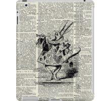 White Rabbit,Alice in Wonderland,Ink Illustration,Dictionary Art iPad Case/Skin