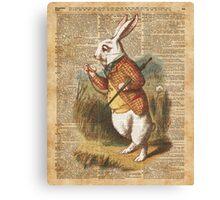 White Rabbit Alice in Wonderland Vintage Art Canvas Print