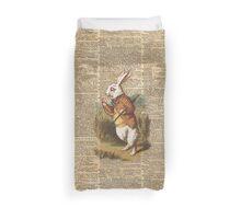 White Rabbit Alice in Wonderland Vintage Art Duvet Cover