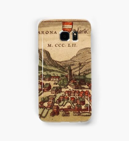 Glarus Vintage map.Geography Switzerland ,city view,building,political,Lithography,historical fashion,geo design,Cartography,Country,Science,history,urban Samsung Galaxy Case/Skin