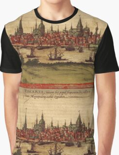 Hansa Vintage map.Geography Sweden ,city view,building,political,Lithography,historical fashion,geo design,Cartography,Country,Science,history,urban Graphic T-Shirt