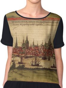 Hansa Vintage map.Geography Sweden ,city view,building,political,Lithography,historical fashion,geo design,Cartography,Country,Science,history,urban Chiffon Top